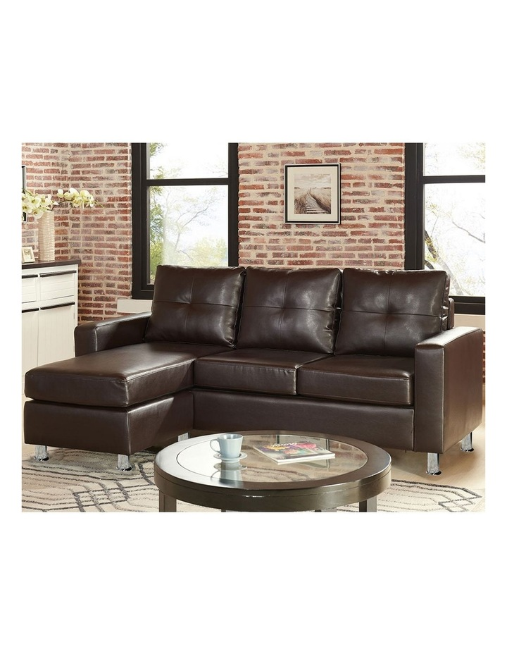 Corner Sofa Lounge Couch Modular Furniture Chair Home Faux Leather Chaise Brown image 2