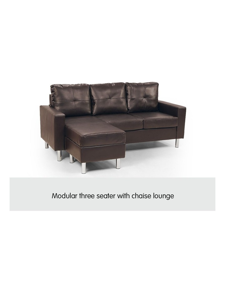 Corner Sofa Lounge Couch Modular Furniture Chair Home Faux Leather Chaise Brown image 3