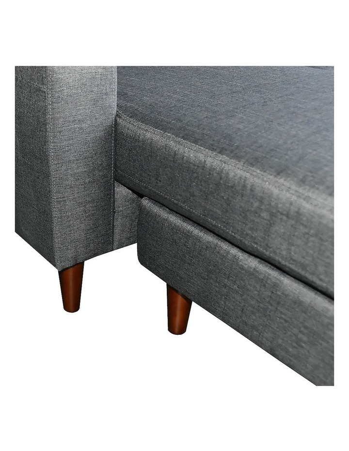 Linen Corner Sofa Couch Lounge Adjustable Chaise with Wooden Legs - Grey image 2