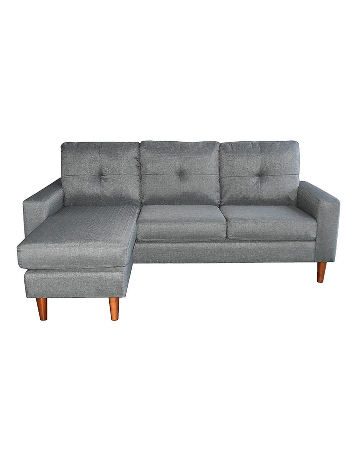 Linen Corner Sofa Couch Lounge Adjustable Chaise with Wooden Legs - Grey image 4