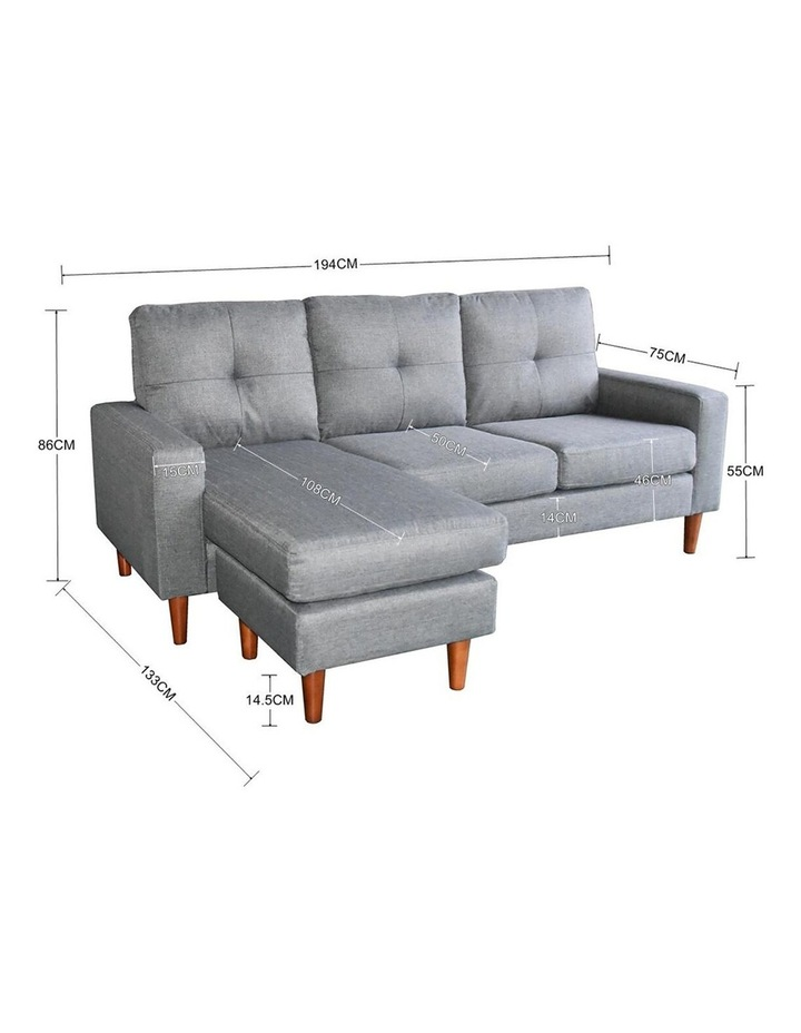 Linen Corner Sofa Couch Lounge Adjustable Chaise with Wooden Legs - Grey image 6