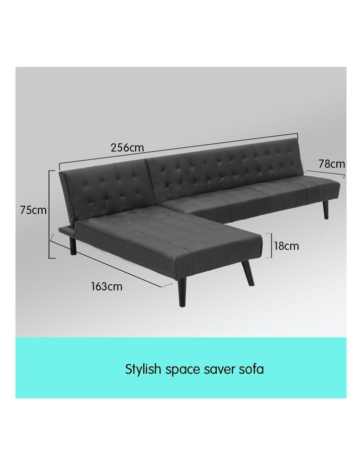 3-Seater Faux Leather Sofa Bed Lounge Chaise Couch Furniture Black image 2