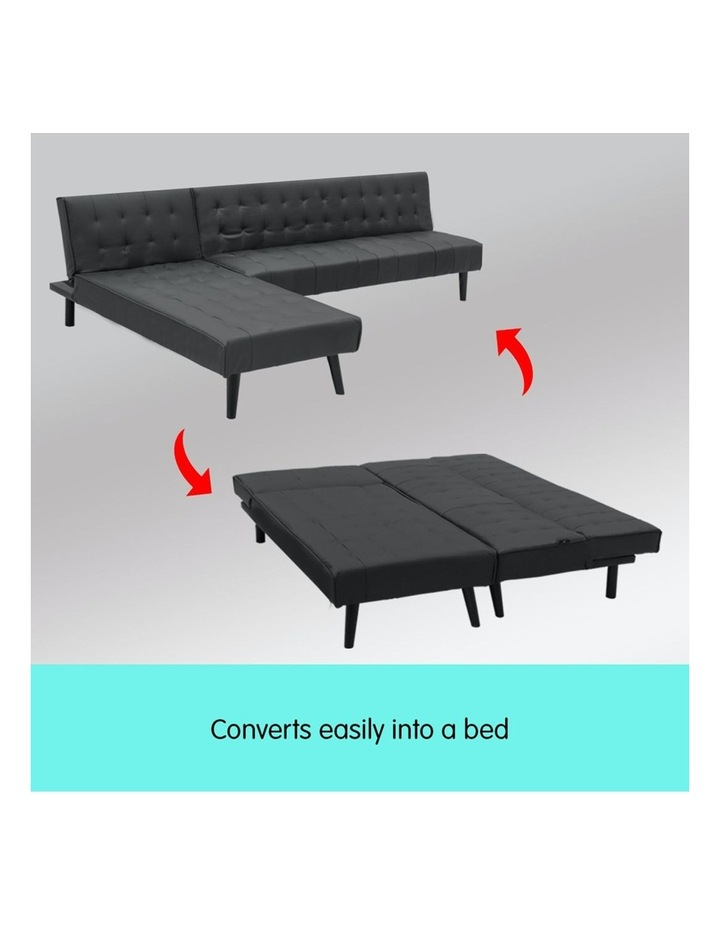 3-Seater Faux Leather Sofa Bed Lounge Chaise Couch Furniture Black image 4