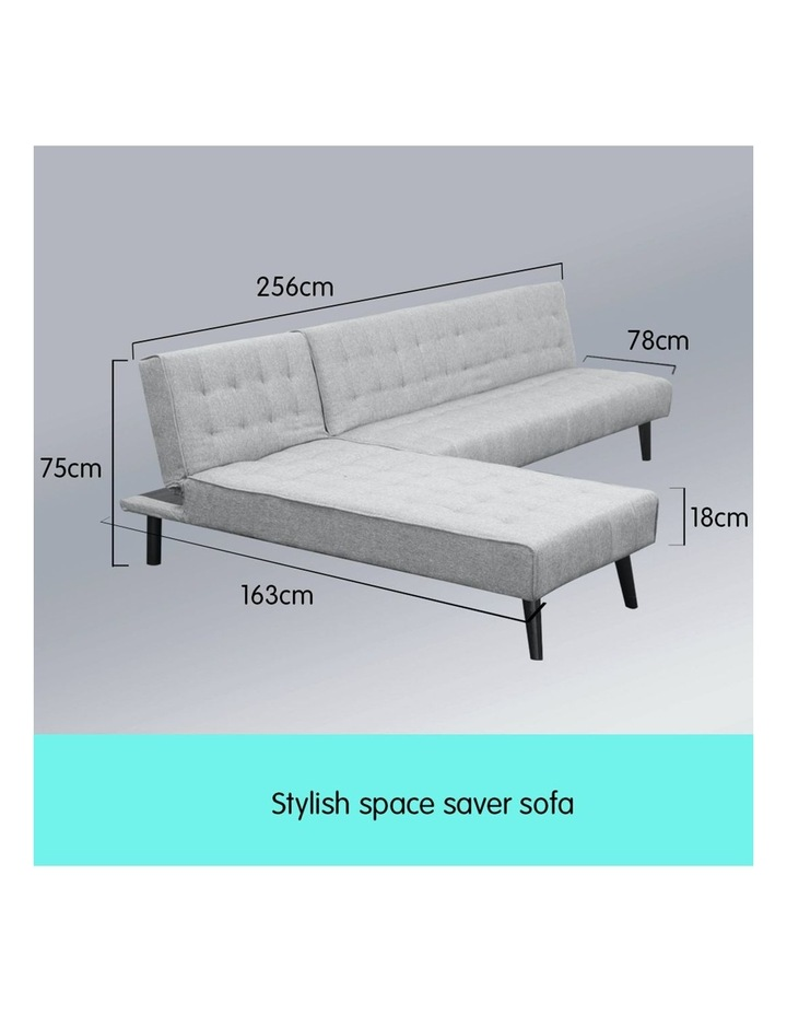 3-Seater Corner Sofa Bed Lounge Chaise Couch - Light Grey image 3