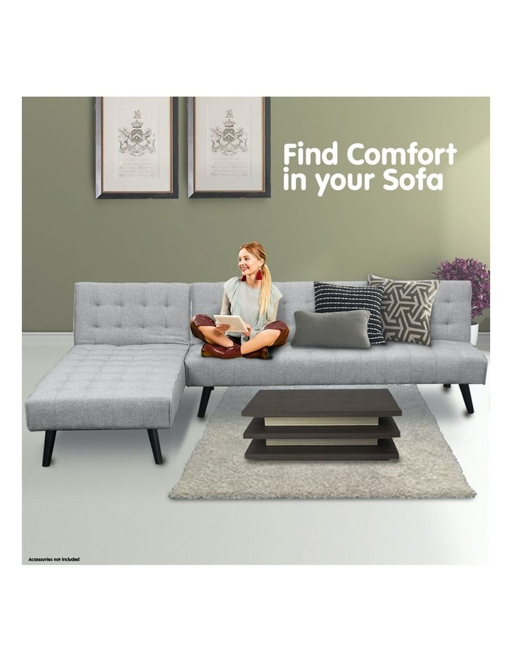 3-Seater Corner Sofa Bed Lounge Chaise Couch - Light Grey image 6