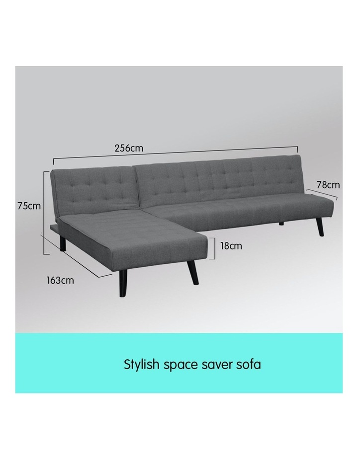 3-Seater Corner Sofa Bed Lounge Chaise Couch - Dark Grey image 3