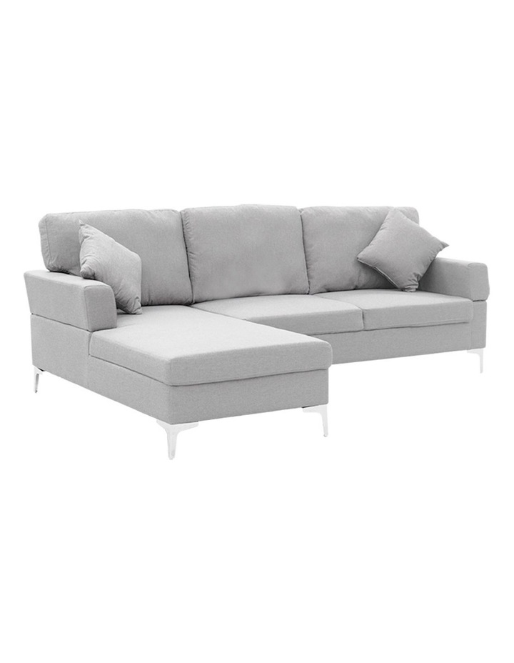 Linen Corner Sofa Couch Lounge L-shape w/ Right Chaise 3 Seater Light Grey image 1