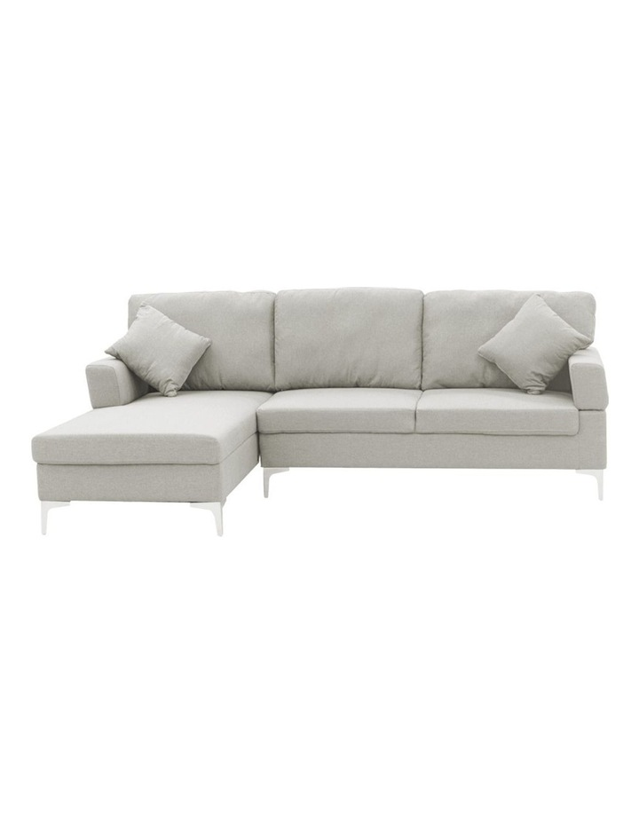 Linen Corner Sofa Couch Lounge L-shape w/ Right Chaise 3 Seater Light Grey image 2