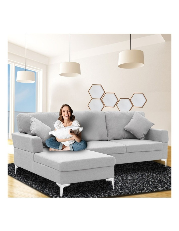Linen Corner Sofa Couch Lounge L-shape w/ Right Chaise 3 Seater Light Grey image 3