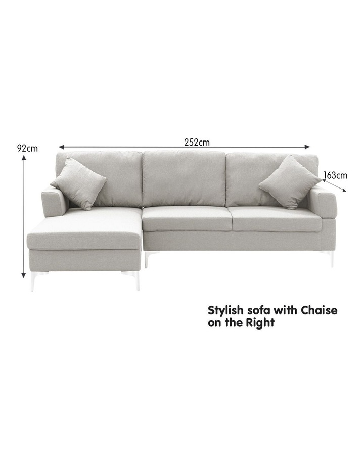 Linen Corner Sofa Couch Lounge L-shape w/ Right Chaise 3 Seater Light Grey image 4