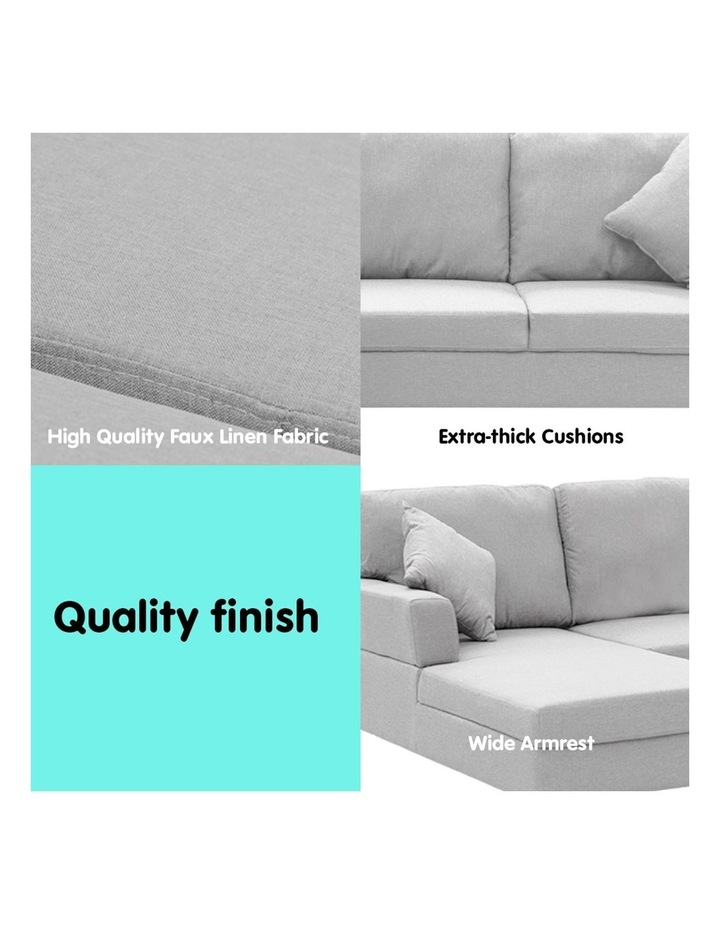 Linen Corner Sofa Couch Lounge L-shape w/ Right Chaise 3 Seater Light Grey image 5