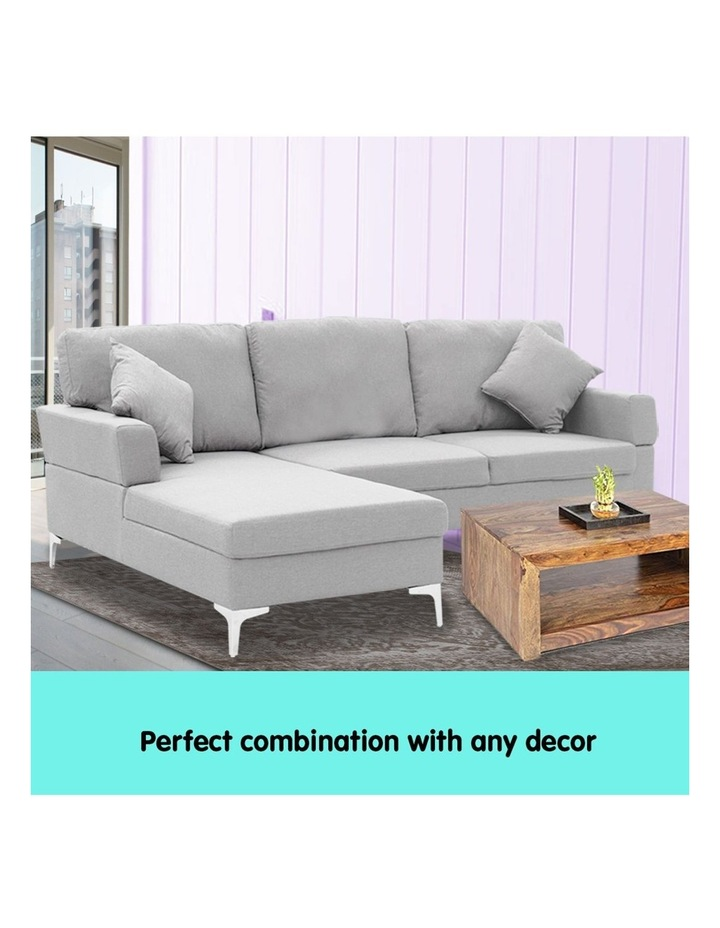 Linen Corner Sofa Couch Lounge L-shape w/ Right Chaise 3 Seater Light Grey image 6