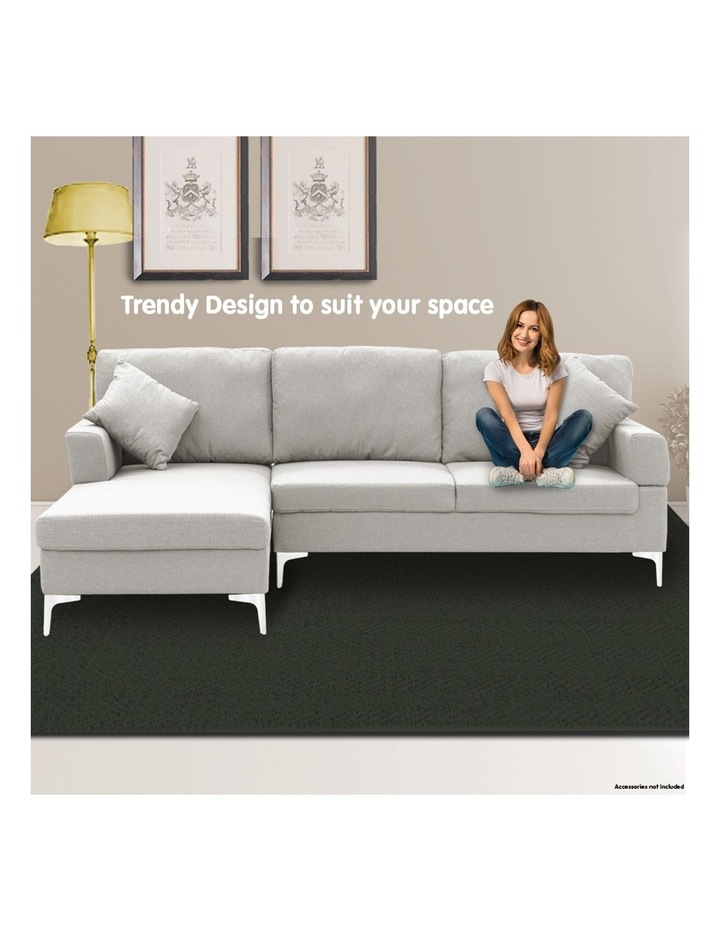 Linen Corner Sofa Couch Lounge L-shape w/ Right Chaise 3 Seater Light Grey image 7