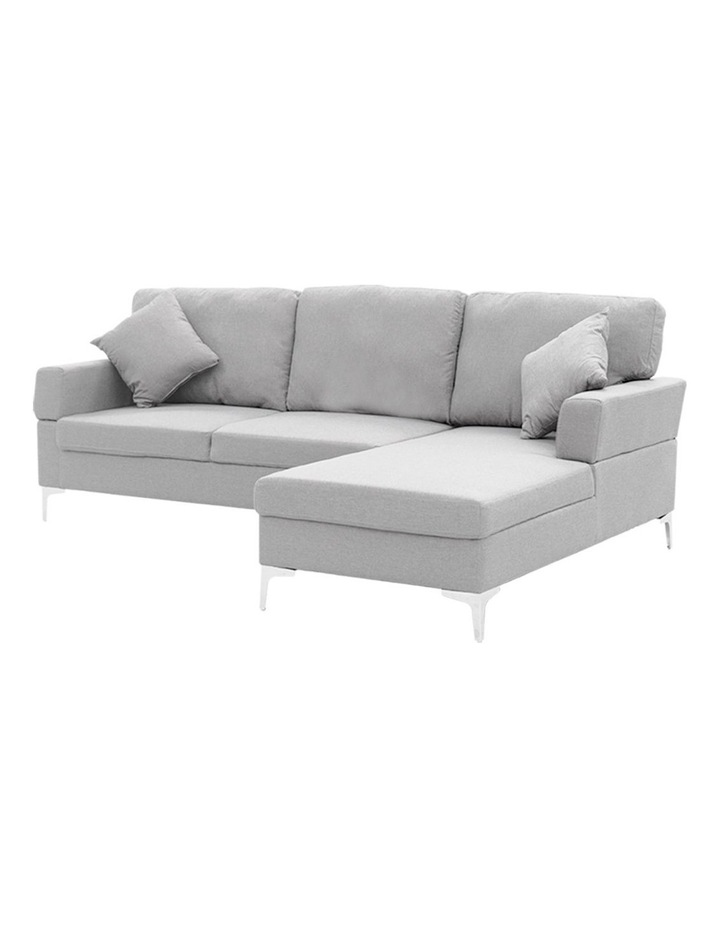 Linen Corner Sofa Couch Lounge L-shaped w/ Left Chaise 3 Seater Light Grey image 1