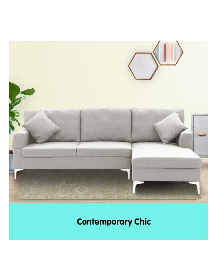 Linen Corner Sofa Couch Lounge L-shaped w/ Left Chaise 3 Seater Light Grey image 5