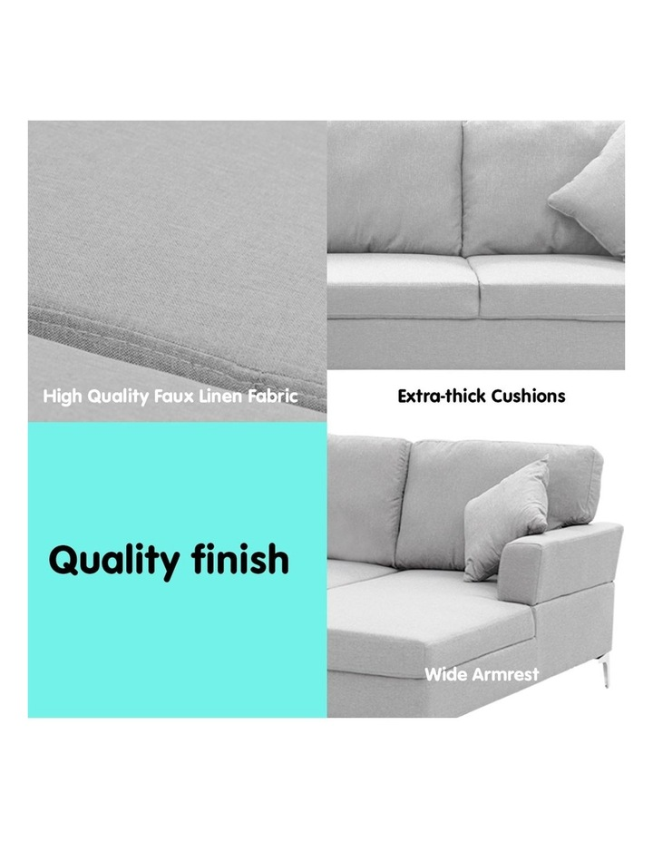 Linen Corner Sofa Couch Lounge L-shaped w/ Left Chaise 3 Seater Light Grey image 7