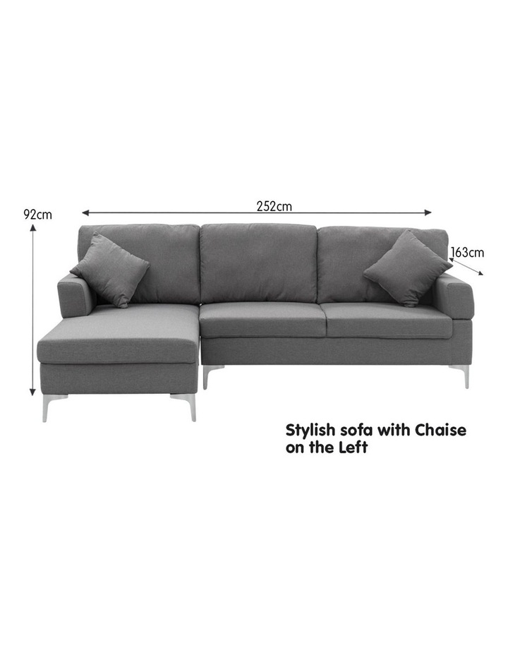 Linen Corner Sofa Couch Lounge L-shape Right Chaise Dark Grey image 4