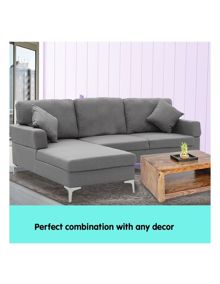 Linen Corner Sofa Couch Lounge L-shape Right Chaise Dark Grey image 6