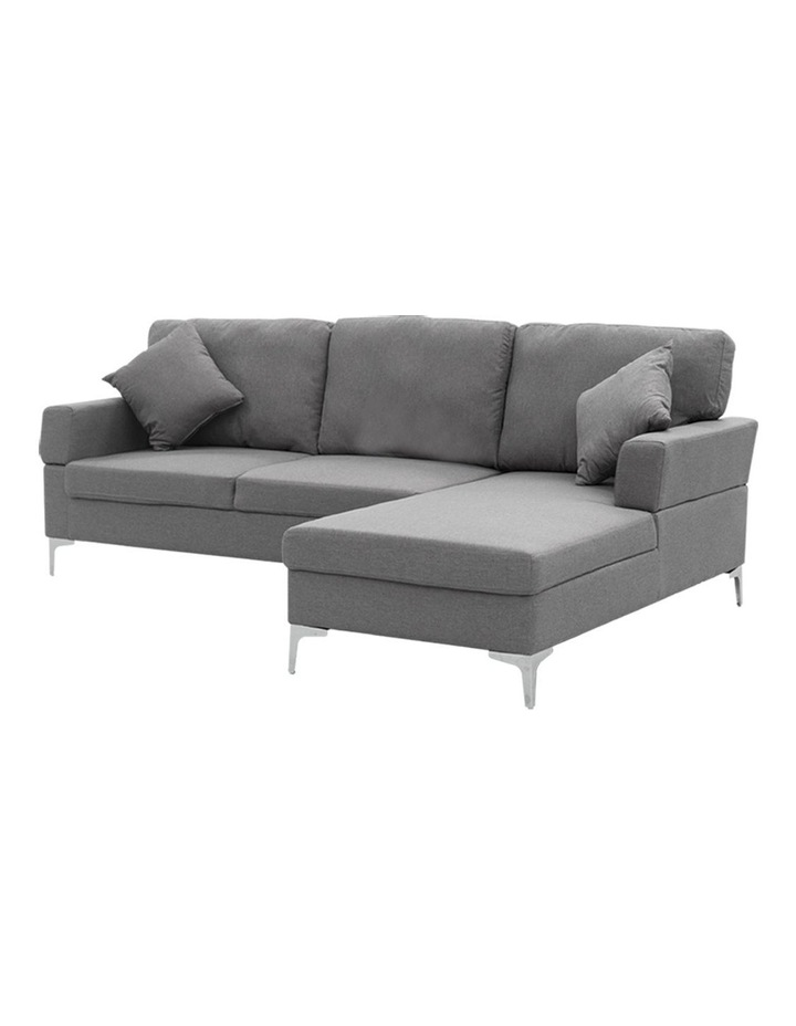 Linen Corner Sofa Couch Lounge L-shape Chaise Dark Grey image 1