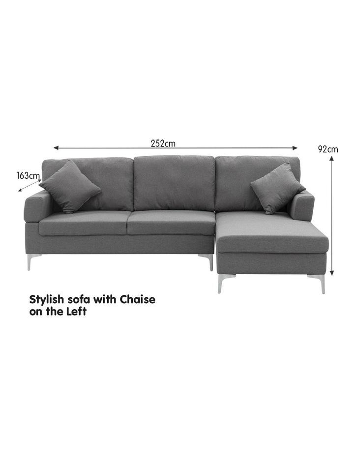 Linen Corner Sofa Couch Lounge L-shape Chaise Dark Grey image 2