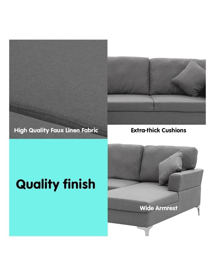 Linen Corner Sofa Couch Lounge L-shape Chaise Dark Grey image 3