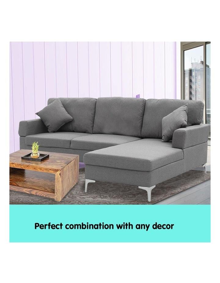 Linen Corner Sofa Couch Lounge L-shape Chaise Dark Grey image 4