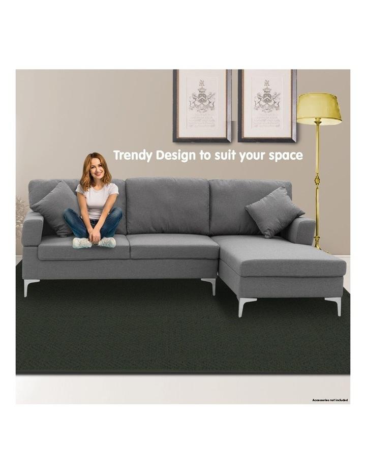 Linen Corner Sofa Couch Lounge L-shape Chaise Dark Grey image 5