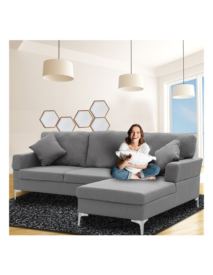 Linen Corner Sofa Couch Lounge L-shape Chaise Dark Grey image 6