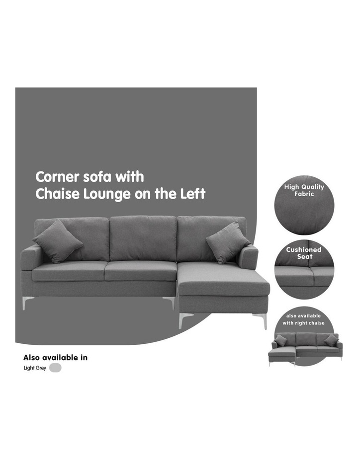 Linen Corner Sofa Couch Lounge L-shape Chaise Dark Grey image 7
