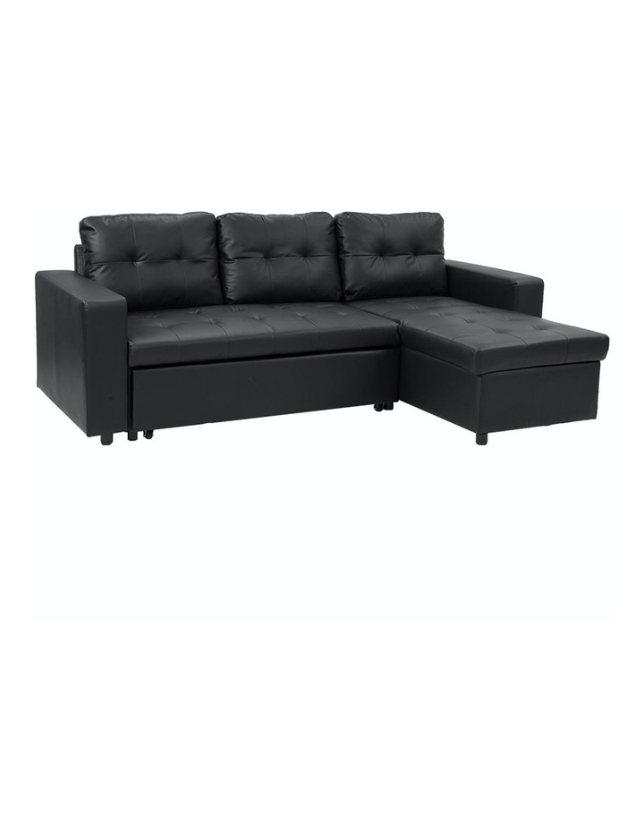 Sarantino Corner Sofa Bed Storage Chaise Couch Faux Leather Black image 1