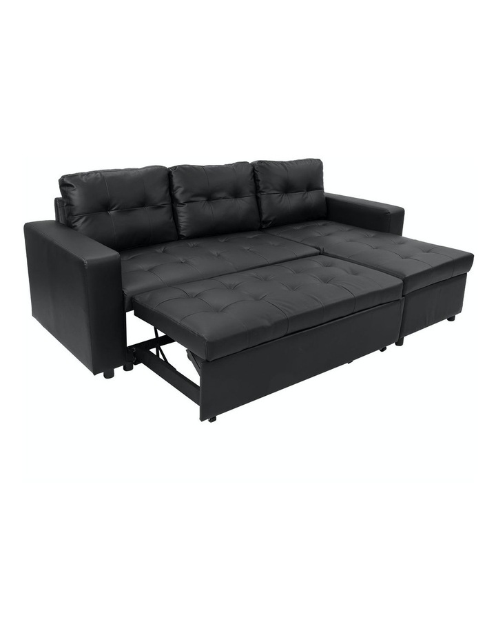 Sarantino Corner Sofa Bed Storage Chaise Couch Faux Leather Black image 2