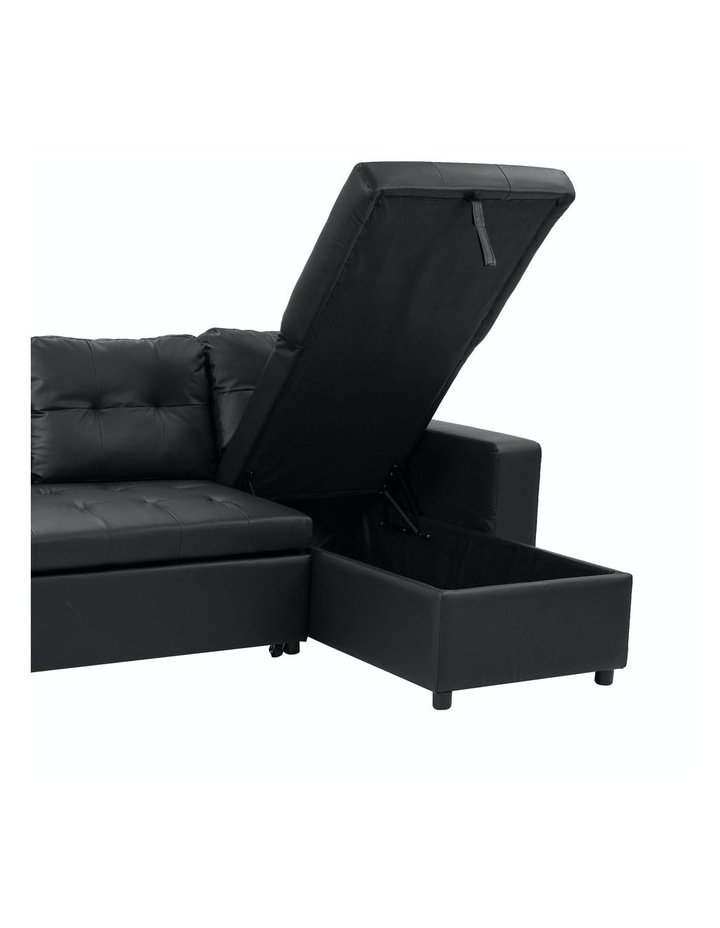 Sarantino Corner Sofa Bed Storage Chaise Couch Faux Leather Black image 3