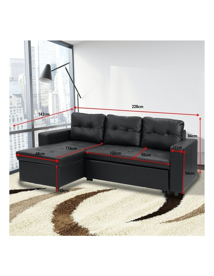 Sarantino Corner Sofa Bed Storage Chaise Couch Faux Leather Black image 4