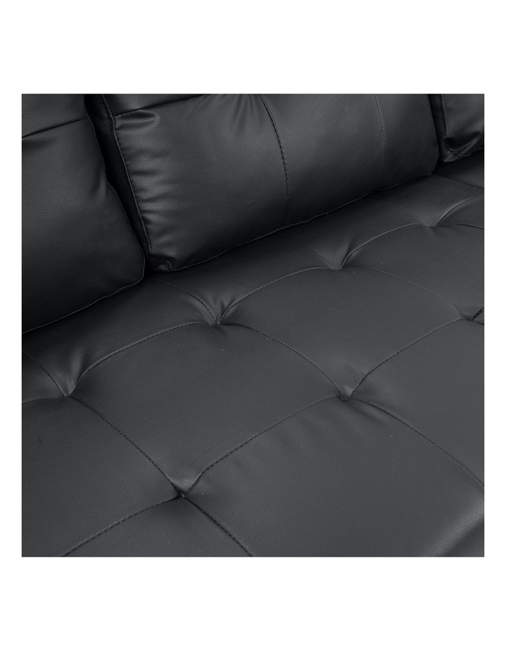 Sarantino Corner Sofa Bed Storage Chaise Couch Faux Leather Black image 5