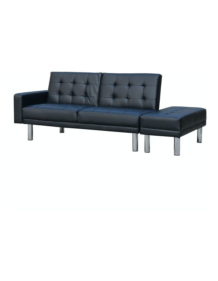 Sarantino Faux Leather Sofa Bed Lounge Couch Futon Furniture Ottoman Suite - Black image 1