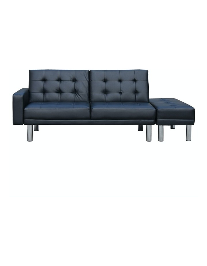 Sarantino Faux Leather Sofa Bed Lounge Couch Futon Furniture Ottoman Suite - Black image 2