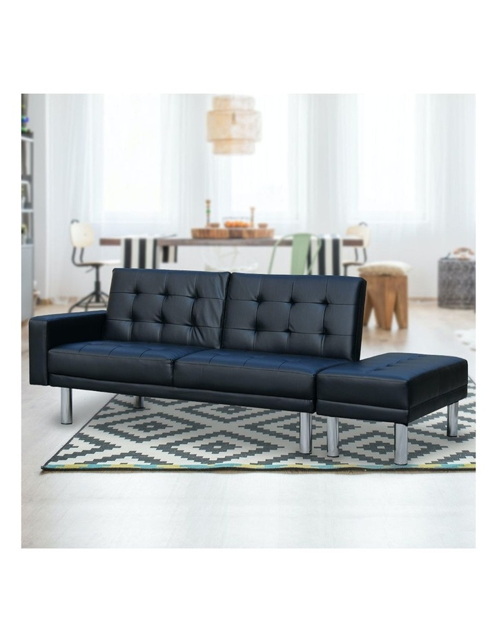 Sarantino Faux Leather Sofa Bed Lounge Couch Futon Furniture Ottoman Suite - Black image 4