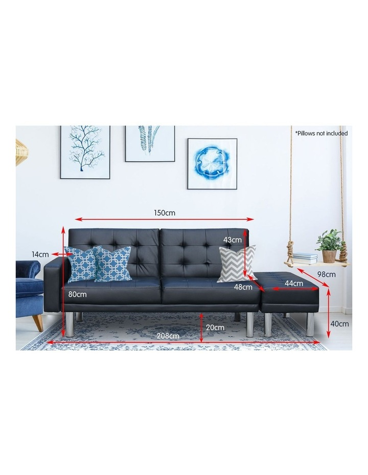 Sarantino Faux Leather Sofa Bed Lounge Couch Futon Furniture Ottoman Suite - Black image 6