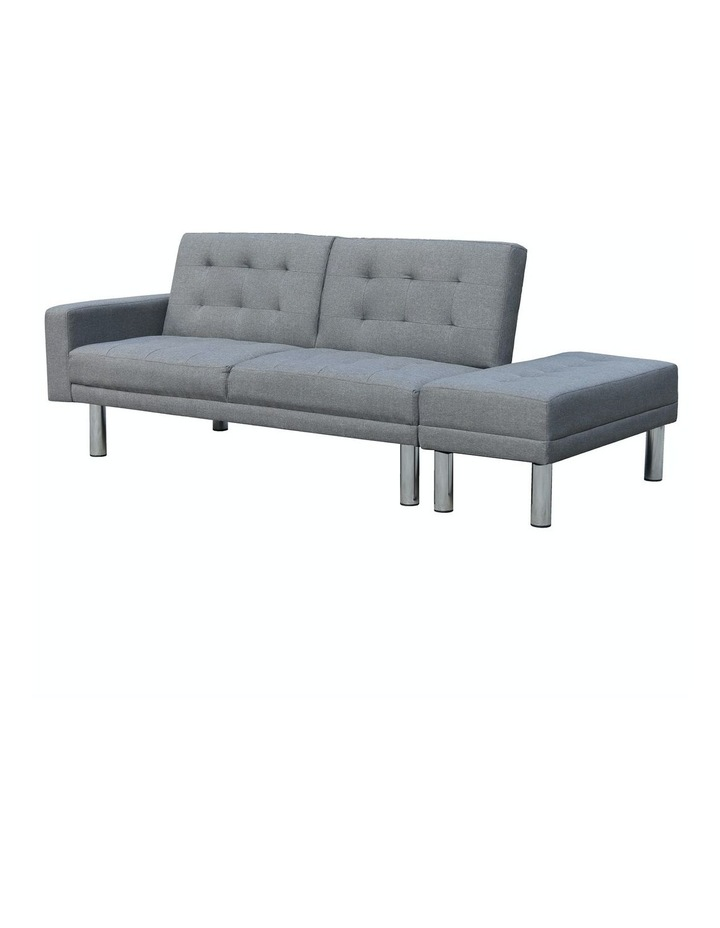 Sarantino 3 Seater Linen Sofa Bed Convertible Couch with Ottoman Grey image 1