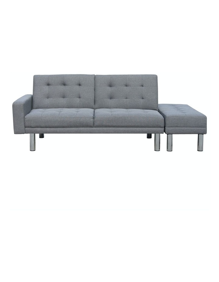 Sarantino 3 Seater Linen Sofa Bed Convertible Couch with Ottoman Grey image 2