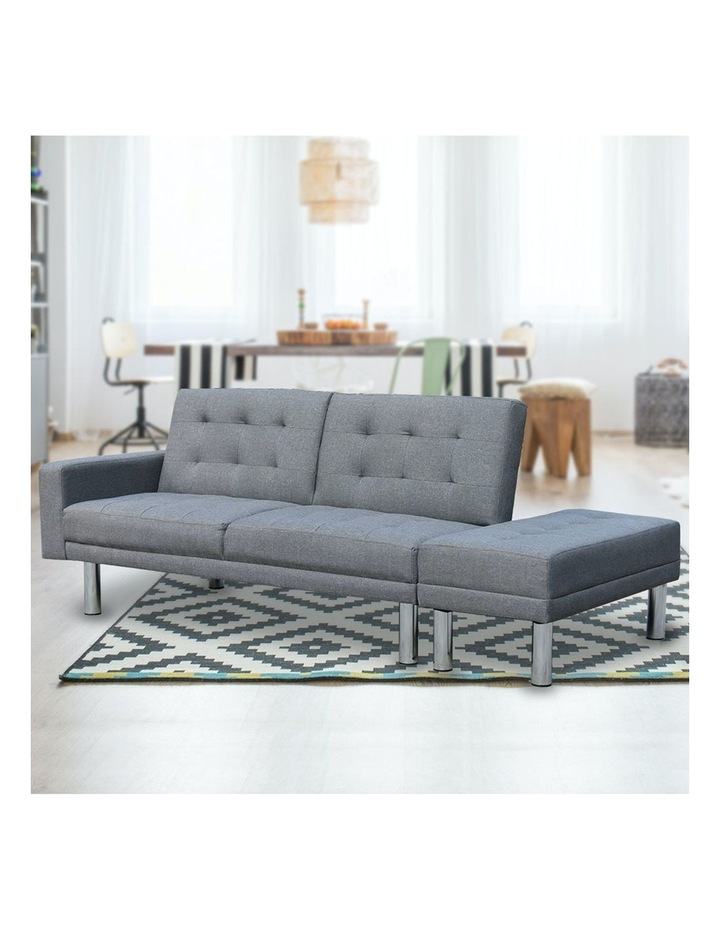 Sarantino 3 Seater Linen Sofa Bed Convertible Couch with Ottoman Grey image 4