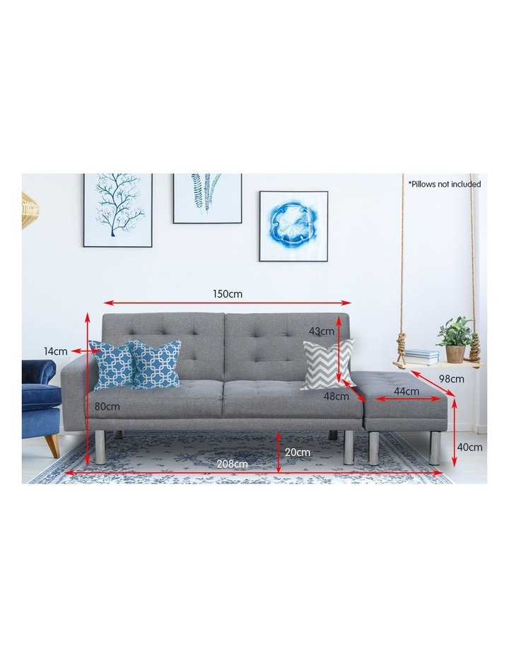 Sarantino 3 Seater Linen Sofa Bed Convertible Couch with Ottoman Grey image 6