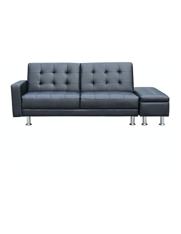 Sarantino 3 Seater Faux Leather Sofa Bed Couch with Ottoman - Black image 1