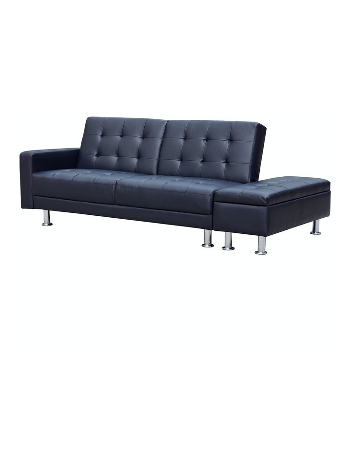 Sarantino 3 Seater Faux Leather Sofa Bed Couch with Ottoman - Black image 2
