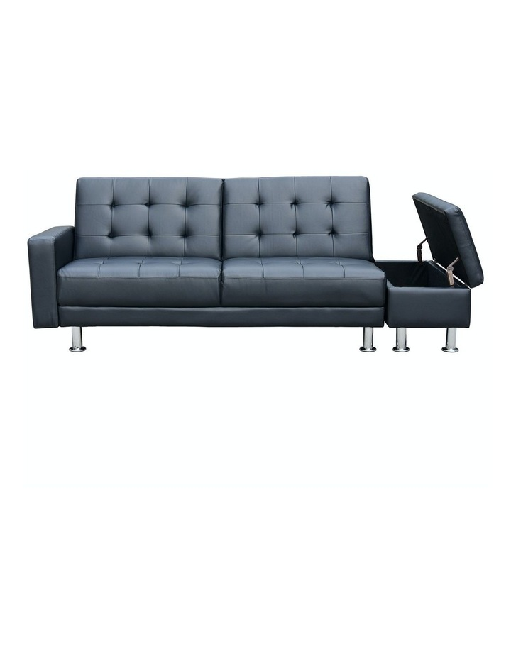 Sarantino 3 Seater Faux Leather Sofa Bed Couch with Ottoman - Black image 3