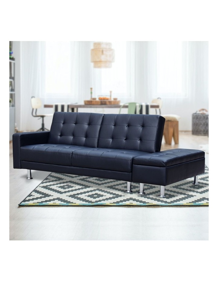 Sarantino 3 Seater Faux Leather Sofa Bed Couch with Ottoman - Black image 4