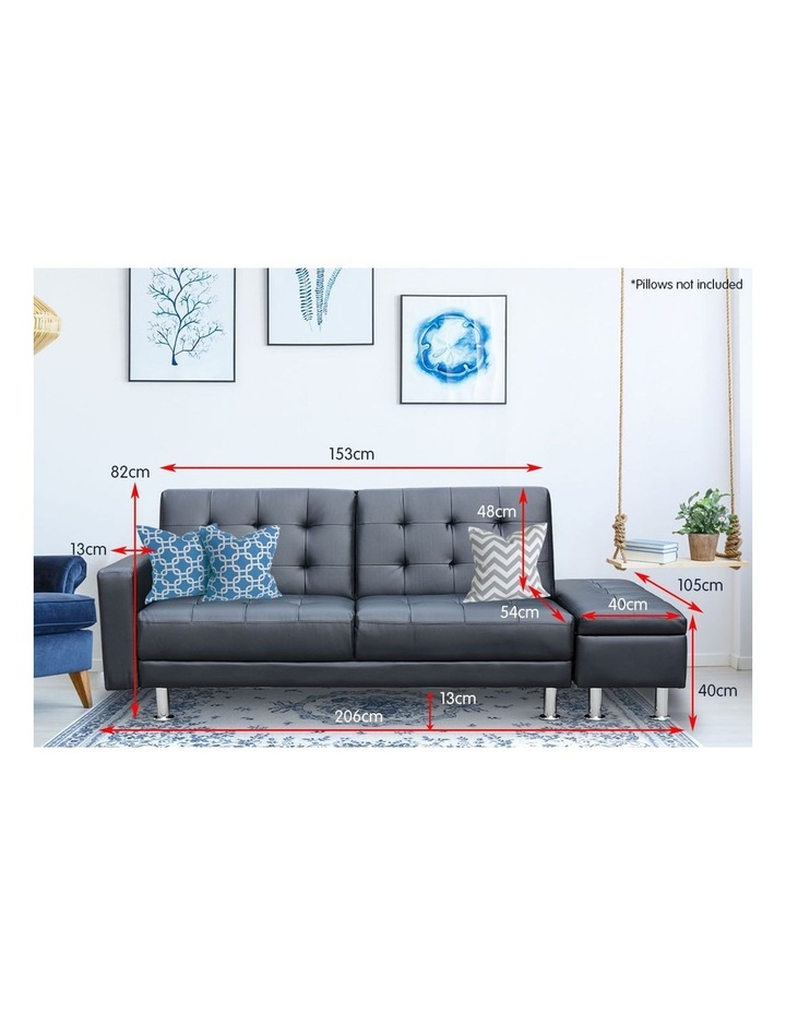 Sarantino 3 Seater Faux Leather Sofa Bed Couch with Ottoman - Black image 6