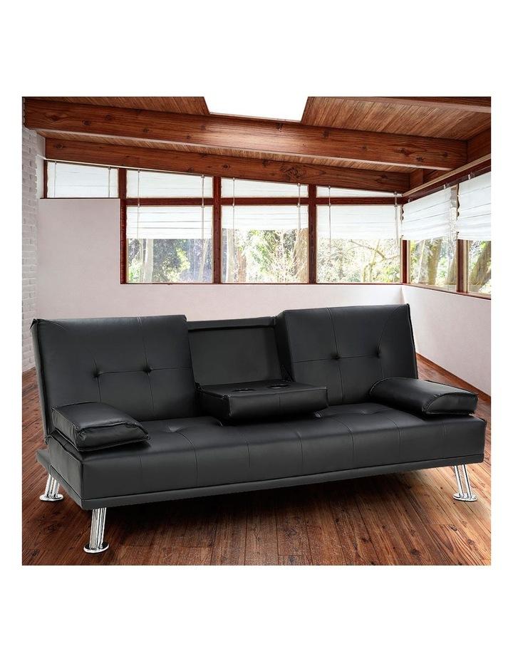 Sarantino Faux Leather Sofa Bed Lounge Furniture - Black image 2