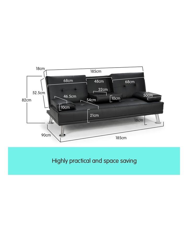 Sarantino Faux Leather Sofa Bed Lounge Furniture - Black image 6