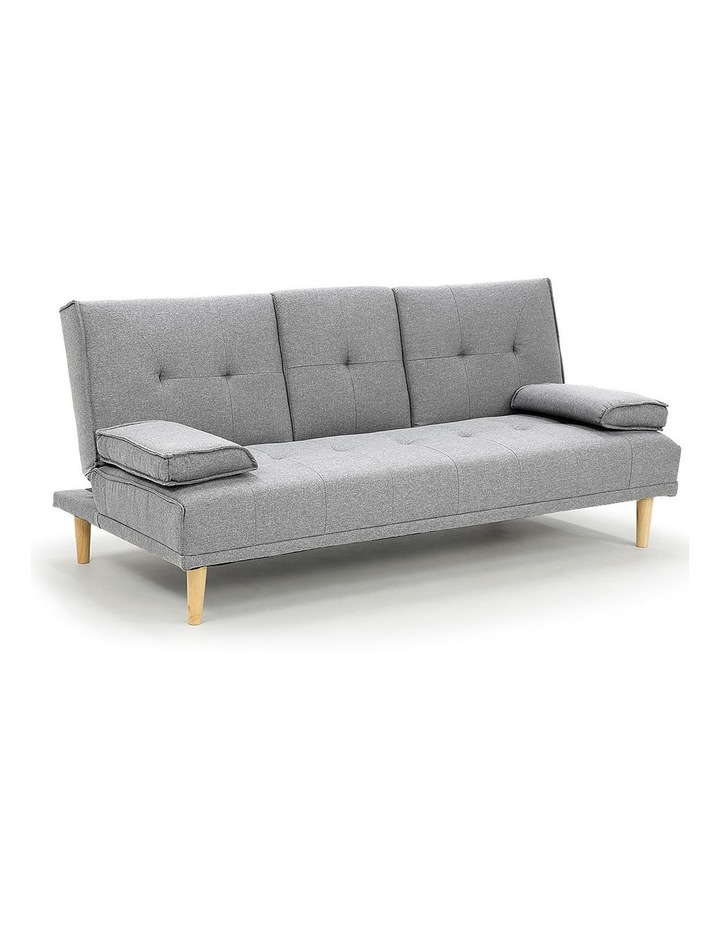 Sarantino Linen Fabric Sofa Bed Lounge Couch Futon Furniture Suite - Light Grey image 1